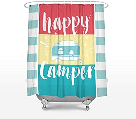 Cloud Dream Home Retro Camping Shower CurtainWaterproof And Mildewproof Polyester Fabric Bath Curtain Design 48x72 Inch Small Stall Size