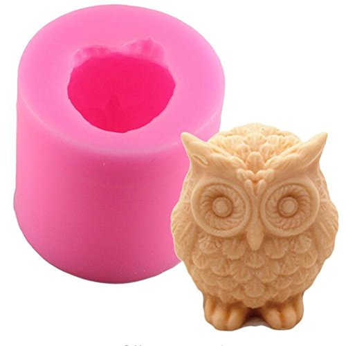 Baifeng 3D Owl Animal shape Silicone Handmade Soap Mold, Resin Clay Candle Molds, FondantCake Decorating Tools, Cupcake Candy Chocolate Gumpaste Moulds,Cookie Bakeware Pan, Kitchen Baking Ac