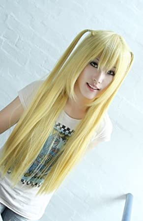 e0667627b39 Death Note Amane Misa 80cm long Platinum Blonde cosplay wig + free yellow  wigcap  Amazon.co.uk  Toys   Games