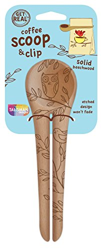 Talisman Designs Get Real Solid Beechwood Coffee Scoop and Clip, Nature Design, 2-Pack