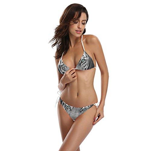White Alaza Set piezas multicolor o ba Traje Bikini dos de de Woman Tiger w1qExAp