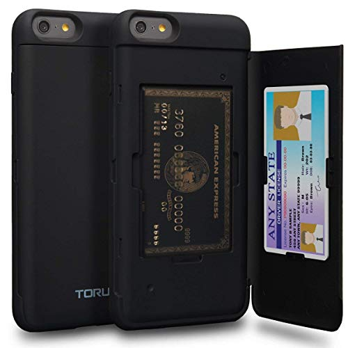 TORU CX PRO iPhone 6S Plus Wallet Case Black with Hidden Credit Card Holder ID Slot Hard Cover & Mirror for iPhone 6S Plus/iPhone 6 Plus - Matte Black