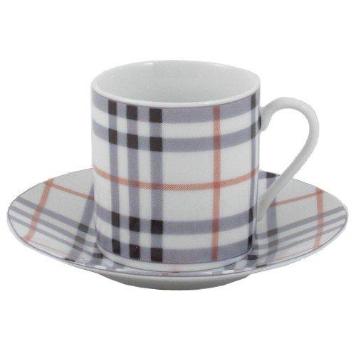 Classic Plaid 12 Piece Porcelain Espresso Demitasse Set -