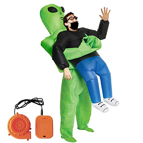 Halloween Spoof Inflatable Costume Green Ghost Hugs Inflatable Costumes Funny Show Props with Blower -