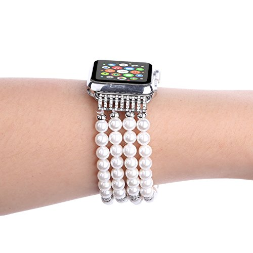 Juzzhou Band For Apple Watch iWatch Series 1/2/3 Replacement Bracelet Handmade Beaded Faux Pearl Natural Bling Stone Crystal Agate Jewels Elastic Stretch Wrist Strap Wristband Wriststrap White 38mm by Juzzhou (Image #4)