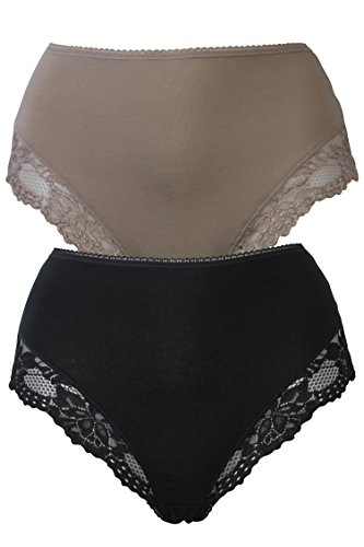 ex-marks-and-spencer-ms-2-pack-control-cotton-rich-high-leg-knickers-briefs-panties-black-fawn-us-14
