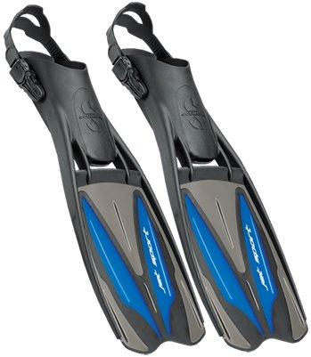 Scubapro Jet Sport Fins, Scuba Pro Diving Fin, Black Blue - Small (6-8)