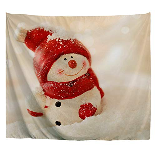 Ao blare Cute Christmas Snowman Wall Tapestry, Smiling Snowman in Red Hat Kids Tablecloth Wall Hanging Art for Living Room Bedroom Dorm Home Decor 80X60Inch (Snowman Wall Tapestry)