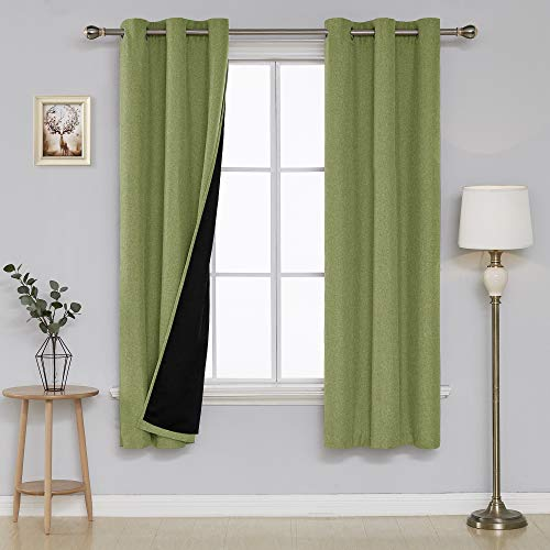 Deconovo Double Layer Room Darkening Grommet Blackout Curtains Textured Linen Look Blackout Curtain Panels for Dining Room 38x72 Inch Green 2 Panels ()