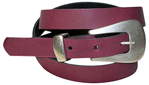 FRONHOFER Skinny womens belt matt silver designer buckle and metal loop, Size:waist size 41.5 IN XL EU 105 cm, Color Bordeaux - 105 Matt
