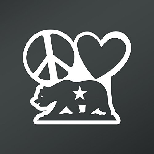 Peace Love California Republic Vinyl Decal Sticker | Cars Trucks Vans Walls Laptops Cups | White | 5.5 X 4.8 Inch | KCD1663