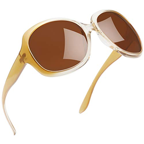 Joopin Oversized Fashion Sunglasses for Women, UV400 Big Frame Womens Sunglasses Polarized Ladies Sunglasses H9045 (Champagne Brown)