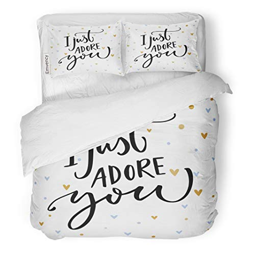 Emvency Decor Duvet Cover Set King Size I Just Adore You Romantic Saying for Valentine S Day 3 Piece Brushed Microfiber Fabric Print Bedding Set Cover ()