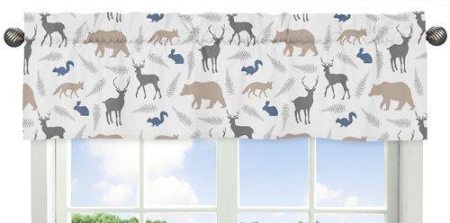 Sweet Jojo Designs Blue Grey and White Woodland Animals Collection Deer Bear Fox Window Valance