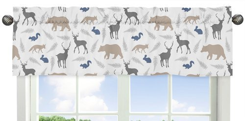 Blue Grey and White Woodland Animals Collection Deer Bear Fox Window Valance