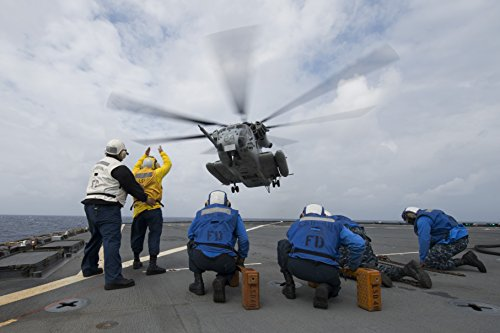 (Laminated Poster A CH-53E Super Stallion Helicopter Takes Off from The Flight Deck of The Whidbey Island-Class Amphib Vivid Imagery Poster Print 24 x 36)