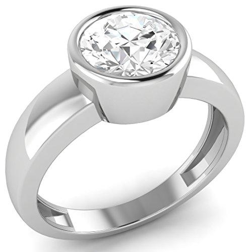 Custom Diamond Bezel (0.50 Cttw Round Cut Natural Diamond Bezel Set 14K White Gold Solitaire Wedding Ring)