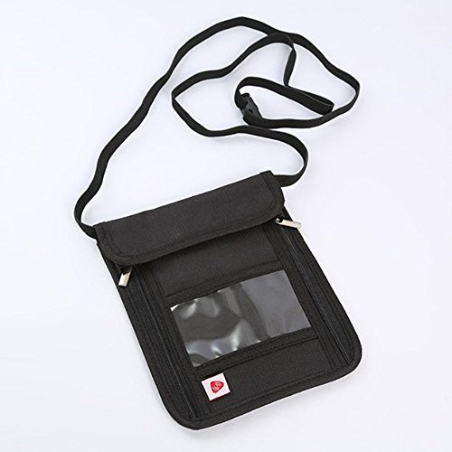 RFID anti-theft folder,travel passport bag, multifunctional hanging neck bag black by CutePaw (Image #2)