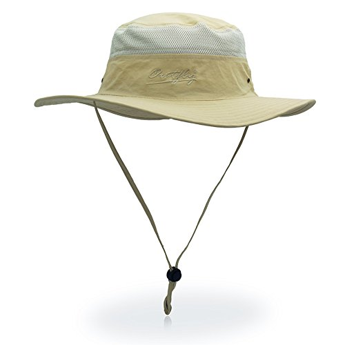 Sun Hat for Men & Women, Wide Brim UPF 50+ UV Protection Beach Cap, Breathable Outdoor Boonie Hats with Adjustable Drawstring Design , Perfect for Hiking, Fishing, Camping, Boating & Safari (Beige)