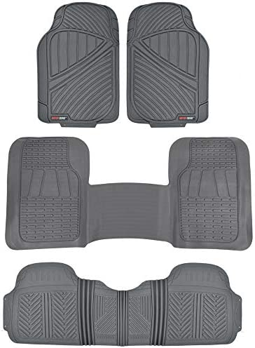 Motor Trend FlexTough 3-Row Heavy Duty Rubber Floor Mats & Liners Mega Truck/SUV/Van Combo – Heavy Duty Odorless All Weather Protection, Universal Trim to Fit, Gray (MT-773+MT-721-Series)