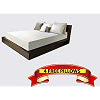 Queen Size 12 Inch Thick, 4 Pound Density Visco Elastic Memory Foam Mattress Bed With 4 FREE GEL Pillows - Made in the USA