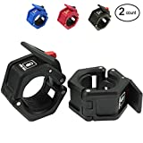 """WODSKAI Olympic Barbell Collars Pair of 2"""", Solid Nylon Locking Clamps with Quick Release Secure Snap Latch, Great for Weight Lifting Gym Barbell Clamp Collars"""