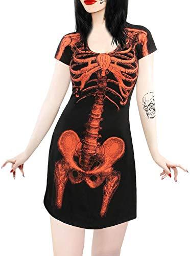 Halloween Women's Mini Party Dresss Skeleton 3D Graphic