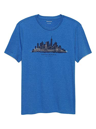 Banana Republic Mens San Francisco Skyline Graphic Tee T-Shirt Royal Blue (Medium) (Tshirt Banana Republic Men)