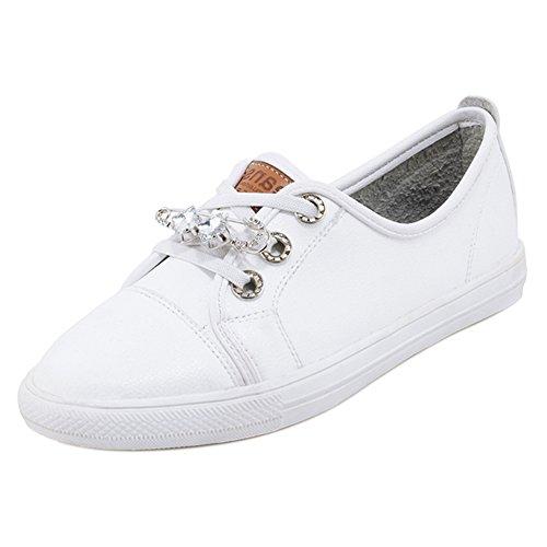 White Sneaker Donna TAOFFEN Stringate Scarpe xwH6fAYWq0
