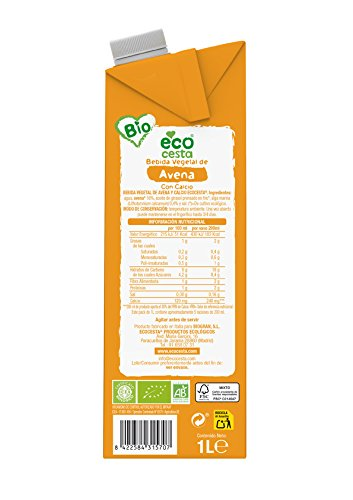 Ecocesta bebida vegetal de avena con calcio Bio 1L: Amazon.es: Alimentación y bebidas
