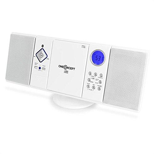 oneConcept V-12-BT - Mini Cadena compacta , Estéreo , Bluetooth , Radio FM/Am , Reproductor de CD y MP3 , USB , Memorias , AUX , Montable en Pared , Mando a Distancia , Blanco