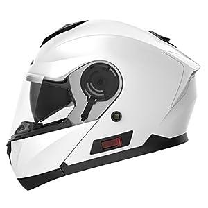 Motorcycle Modular Full Face Helmet DOT Approved - YEMA YM-926 Motorbike Moped Street Bike Racing Crash Helmet with Sun Visor for Adult, Men and Women - White,Large