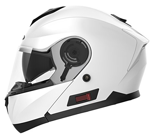 Motorcycle Modular Full Face Helmet DOT Approved - YEMA YM-926 Motorbike Moped Street Bike Racing Crash Helmet with Sun Visor for Adult, Men and Women - White,Medium