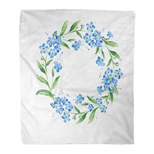 Semtomn Flannel Throw Blanket Blue Watercolour Floral Forget Me Not Flower Round Watercolor Soft for Bed Sofa and Couch 60x80 Inches