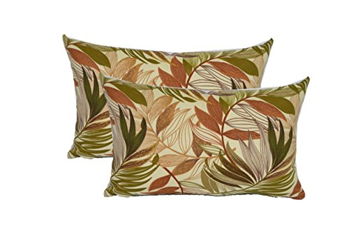 Set of 2 Indoor / Outdoor Decorative Lumbar / Rectangle Pillows - White, Tan, Brown, Green, Tropical Palm Leaf Fabric - Choose Size (11