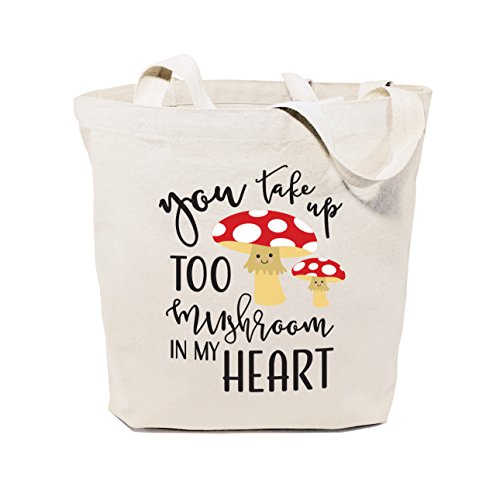 The Cotton & Canvas Co. You take too mushroom in my heart Reusable Grocery Bag and Farmers Market Tote Bag