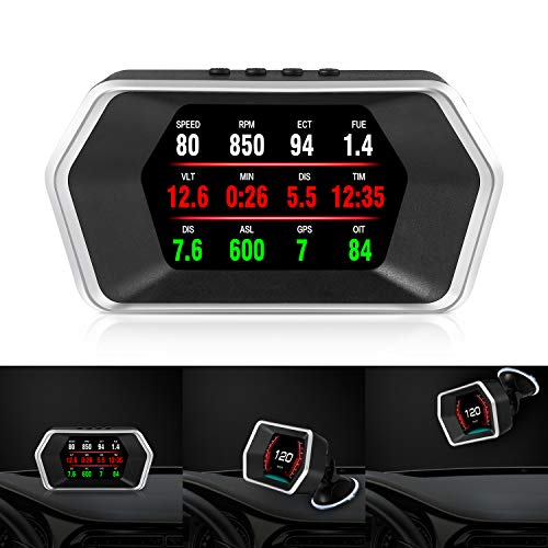 Car HUD OBD2/GPS Dual Systems Head Up Display iKiKin Digital Car GPS Speedometer with Compass Test Brake Test Fault Code Reader Engine RPM OverSpeed Alarm Water Temperature for All Vehicle