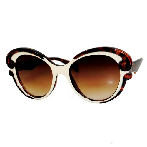 EF Oversized High Fashion Two Tone Sunglasses w/ Baroque Swirl Arms (TT CREAM REGULAR ARMS) Cream Swirl Shades