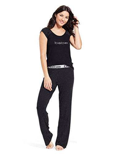 (bebe Womens Cap Sleeve T-Shirt Elastic Waist Pajama Pants Set Black Medium)