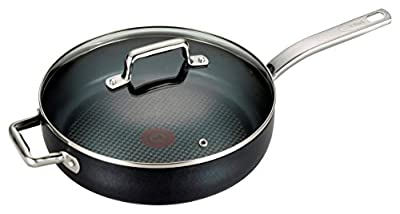 T-fal C51782 ProGrade Titanium Nonstick Thermo-Spot Dishwasher Safe PFOA Free with Induction Base Saute Pan Jumbo Cooker Cookware, 5-Quart, Black