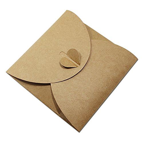 13x13cm (5.1x5.1 inch) Kraft Paper CD DVD Sleeve Reclosable Packaging Bags Box Cases CD DVD Packing Cover Holder Boxes Envelopes Wedding Baby Shower Party Favor Home Disc Storage Wallets (20, Brown)