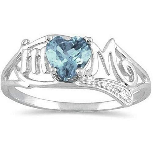 Crookston 925 Silver Aquamarine Gemstone Ring Jewelry Women Wedding Party Gift Size 6-10 | Model RNG - 15157 | 9
