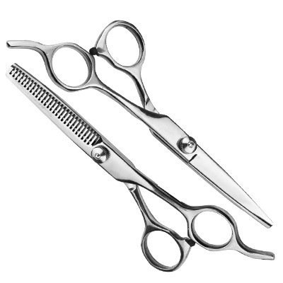 "O'Bester 6.5"" Deluxe Professional Barber Hair Cutting Scissors / Shears, Comfort Grip Triple Ring with Adjustable Tension and Finger Inserts, Sculpt and Layer Haircuts for Men and Women"