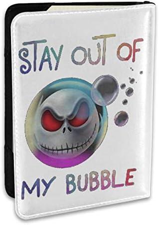 Jack The Skeleton Stay Out Of My Bubble ジャック・スケリントン パスポートケース メンズ レディース パスポートカバー パスポートバッグ ポーチ 6.5インチ PUレザー スキミング防止 安全な海外旅行用 収納ポケット 名刺 クレジットカード 航空券