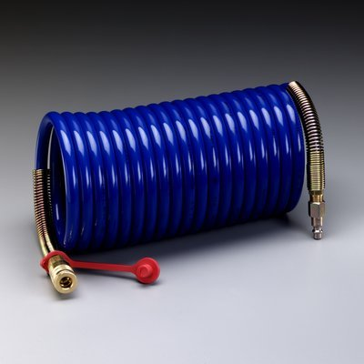 3M (W-2929SR-100) Supplied Air Hose W-2929SR-100, 100 ft, 3/8 in ID, Schrader Fittings, High Pressure, Coiled Schrader Hose Assembly