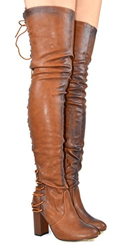 Chase & Chloe Addison-1 Partial Side Zip With Full Back Lace Up Block Heel Womens Thigh High Boot Cognac Pu U9YVVG5u4d