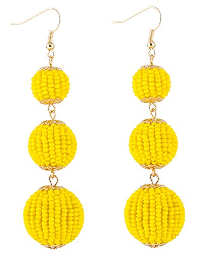 NLCAC Bead Ball Earrings Triple Dangle Ear Drop for Women(Yellow) (Ball Drop Dangle)