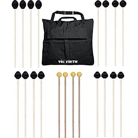 Vic Firth Keyboard Mallet 10-Pack w/ Free Mallet Bag - M182(2), M183(2), M187(2), M188(2) ,M134(2) - Keyboard Mallet Bag
