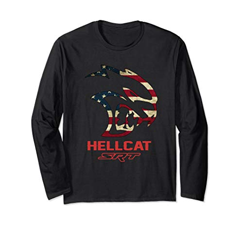Hell cat SRT Dodge Long Sleeve Shirts Vintage Flag US