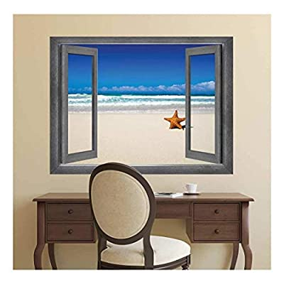 Unbelievable Artisanship, That You Will Love, Open Window Creative Wall Decor View of The Ocean and a Lone Starfish Wall Mural